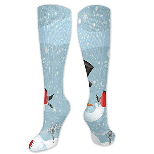(Juzijiang Personalized Compression Socks,Snowfall Festive New Years Eve Celebration Theme Xmas Figure With Bullfinch Birds,Best Medical,for Running,Hiking,Varicose Veins,Circulation & Recovery)