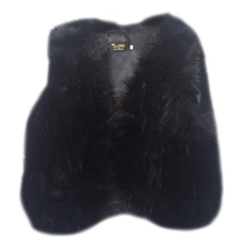 Donne gilet senza maniche cappotto capispalla corta giacca waistcoat nero xs