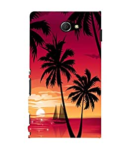 printtech Beach Palm Trees Boat Back Case Cover for Sony Xperia M2 Dual D2302::Sony Xperia M2