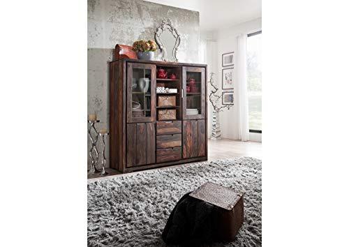 MASSIVMOEBEL24.DE Sheesham Massivholz massiv Möbel geölt Highboard Palisander Möbel massiv Holz Pure Sheesham Strong Grey #882