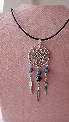 Collier, pendentif attrape-rêve avec sodalite, hématite et plumes argent tibétain