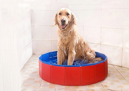 T Tocas Premium Foldable Pet Dogs Cats Swimming Cool Pools Round Shape Bathing Tub, Waterproof, 80 cm. D x 20 cm. H, Red & Blue 2
