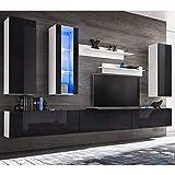 Xingshuoonline TV-Möbel mit LED-Lichtern schwarz glänzend 8 Stück TV-Möbel 3 x Wandmöbel: 38 x 30 x 110 cm (Breite x Tiefe x Höhe)