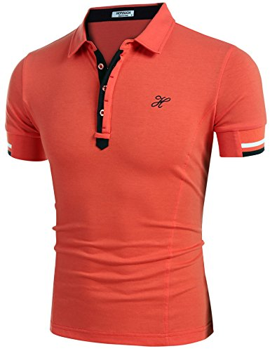 HOTOUCH Herren Poloshirt Polohemd Slim Fit Hemd Polo Shirt Kurzarm Orange