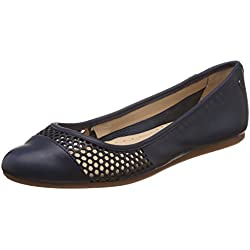 Hush Puppies Women's Liza Heather Blue Leather Ballet Flats