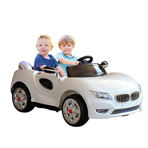 Homcom Voiture électrique Enfant 2 Places 12 V 3,5-7,5 Km/h 2 Moteurs phares LED + Bandes Lumineuses Fonction USB MP3 télécommande parentale Blanc