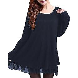 Zanzea Femme Sweater Tricot Lâce Manche Longue Haut Pull Mini-Robe Cardigan Sweats, Bleu, EU 36/ US 4 UK 8