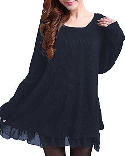 Zanzea Femme Sweater Tricot Lâce Manche Longue Haut Pull Mini-Robe Cardigan Sweats, Bleu, EU 38/ US 6 UK 10