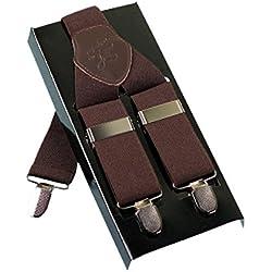 Tirantes Hombres KANGDAI Tirantes para hombres 3 hebillas Y espalda de rayas Tirantes ajustables elásticos durables Strong Metal Clips (Brown)