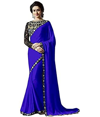 KMOZI Women's Satin Saree (Kof166_Blue)