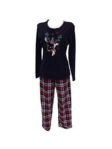 Pyjama & flanelle pour femme mix match flanellhose top interlock 53404 Noir - Noir