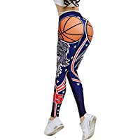 Leggins Mujer Pantalones Yoga Mujeres, Yusealia Cintura Alta Sólido Leggins Fitness Pantalones de Impresión de Baloncesto Moda Empalmada Pantalones De Correr Leggings EláSticos De Flaco Fitness
