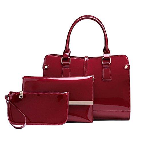 Ladies Tre Insiemi Di Borsa Della Borsa Del Sacchetto Del Messaggero Di Modo Del Cuoio Luminoso Della Borsa Sub-pacchetto Red