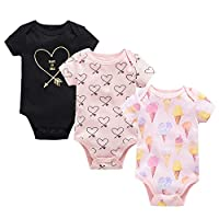 Baotung Baby Boys/Girls Cotton Short-Sleeved Bodysuit 3 Pack - - 0-3 Months/62 cm