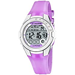 Calypso Girl's Digital Watch with LCD Dial Digital Display and Purple Plastic Strap K5571/3