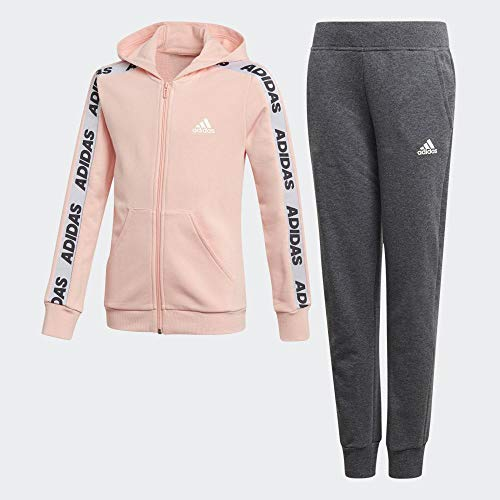 adidas Mädchen YG Hood COT TS Tracksuit, Glow pink/White,Grey Heather, 9-10Y -