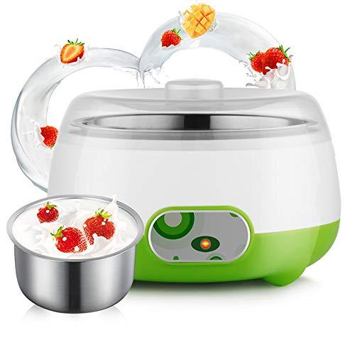 Jstyal968 Yalztc-zyq16 15W Energiesparende Joghurtmaschine mit geringem Verbrauch, Joghurtmaschine mit 360 ° Thermostat, Haushaltsgeräte aus rostfreiem Stahl.Grün