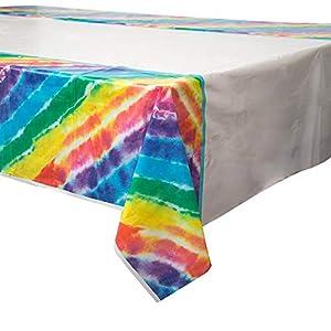 Mantel de plástico teñido en forma de arcoíris, de 2,13m x 1,37m