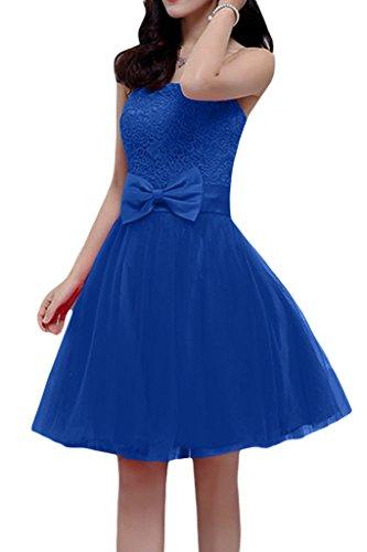 Missdressy Damen Tuell Traegerlos Schleife Mini Schnuerung Mini Abendkleider Brautbegeleiterinkleider Royalblau