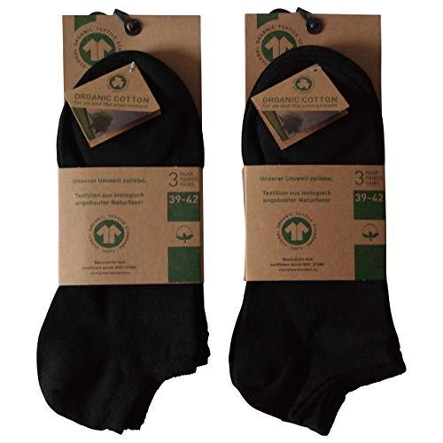 Lieblingsstrumpf24 6 Paar Füsslinge Sneaker Socken Bio 98% Baumwolle Organic Cotton ohne Naht (39-42, Schwarz) Baumwolle