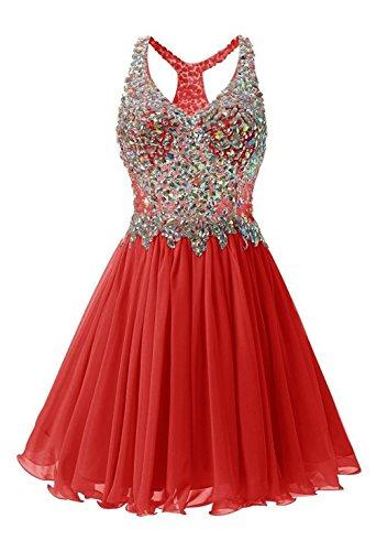 CoCogirls A-Linie Kurz Beadings Chiffon Rückenfrei Heimkehr Kleid Partei-Kleid Abendkleid Ballkleid Cocktail kleider Red