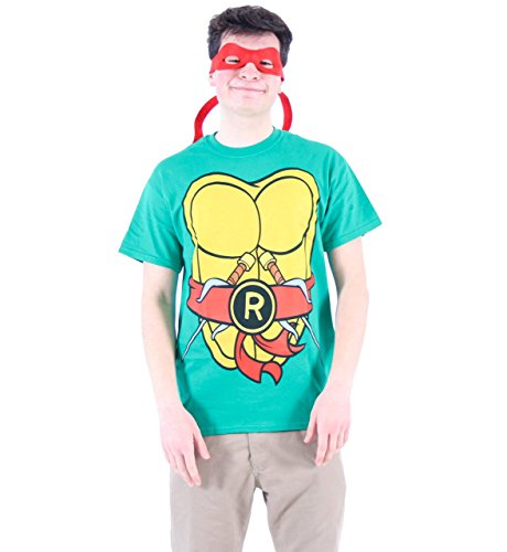 (TMNT Teenage Mutant Ninja Turtles Raphael Kostüm Grün Erwachsene T-shirt Tee (Large))