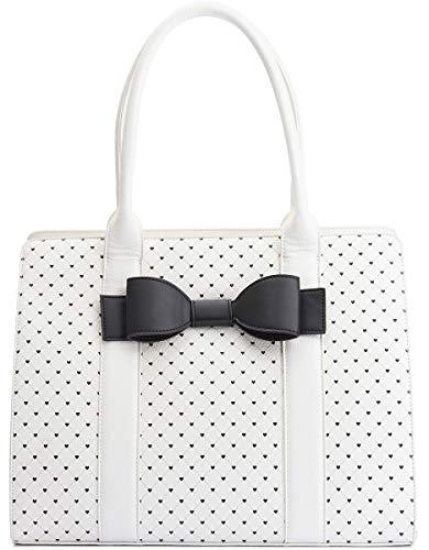Lola Ramona Damen Tasche Daisy Grand Herzen Retro Handtasche (Cremeweiß/Schwarz)