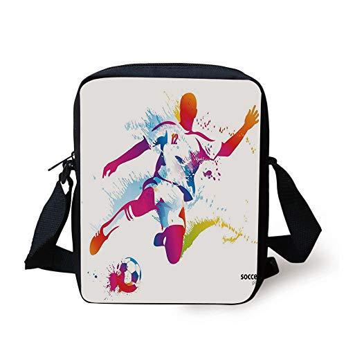 Teen Room Decor,Soccer Player Kicks The Ball Watercolor Style Spray Championship Image,Multicolor Print Kids Crossbody Messenger Bag Purse