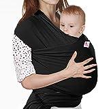 Écharpe de Portage, Lictin l'Echarpe Portage Fait de Coton Elastique, Écharpe Multifonctionnel pour les Nouveau-nés et Bébés Jusqu'à 15 kg, Echarpe de Portage bebe (NOIR)