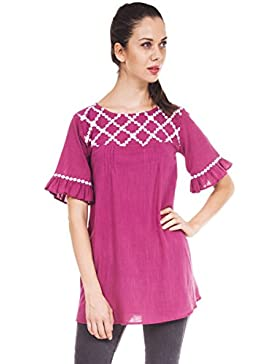 9teenagain Damas de Bell manga corta de algodón superior ocasional de la túnica - Tamaño disponible