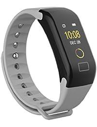 QUICKLYLY Pulsera Actividad,Pulsera Inteligente para Mujer Hombre Reloj Fitness Monitor de Sueño y Calorías, Podómetro, Despertador, Cámara control,Bluetooth Compatible con IOS y Android (Gris)