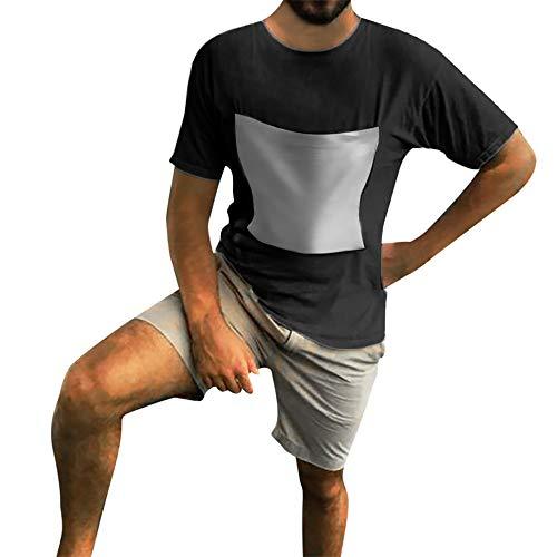 (Fenverk Herren T-Shirt Kurzarm Shirt Mit Rundhalsausschnitt Slim Fit Schlank Hemden Tops Hemd Sommer Freizeit(Schwarz 2,L))