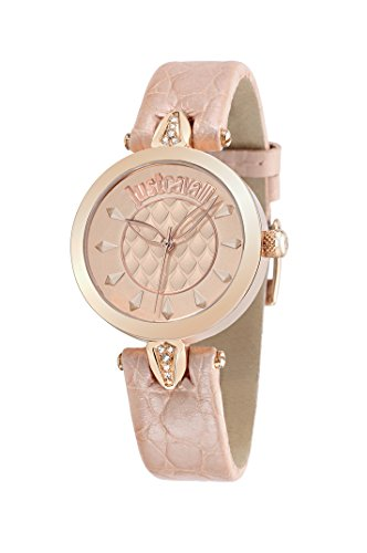 Just Cavalli Just Florence Women's Quartz Watch with Rose Gold Dial Analogue Display and Pink Leather Strap R7251149501