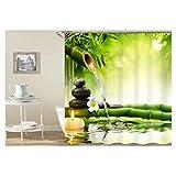 KnSam Duschvorhang Anti-Schimmel Wasserdicht Vorhänge an Badewanne Bad Vorhang für Badezimmer Bambus Wasser 100% PEVA inkl. 12 Duschvorhangringen 180 x 180 cm