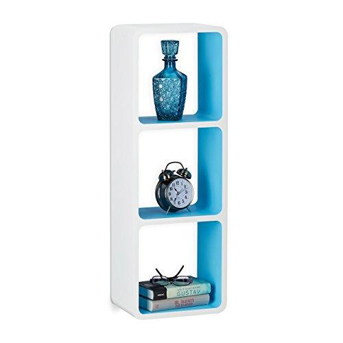 Relaxdays Wandregal mit 3 Fächern, offenes Cube Schweberegal oder Standregal für Deko, CDs,...