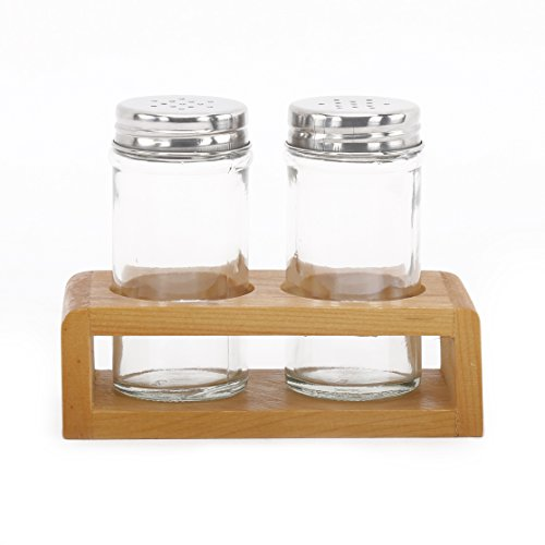 @home by Nilkamal Salt and Pepper Glass Set of 3 with Stand - 80 ml each  available at amazon for Rs.199