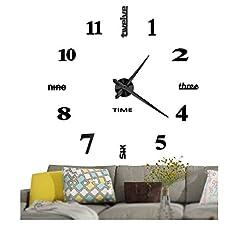 Idea Regalo - Vangold Modern 3D DIY Orologi da parete Decorazioni grandi adesivi per la casa Decorazione-2 anni di garanzia (Nero)
