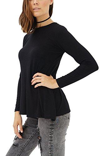 trueprodigy Casual Damen Marken Long Sleeve einfarbig Basic, Oberteil cool und stylisch mit Rundhals (Langarm & Slim Fit), Langarmshirt für Frauen in Farbe: Schwarz 1182504-2999-XL