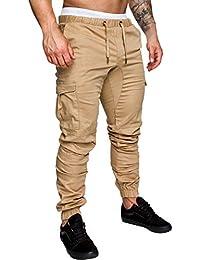 fba239522df Pantalones de Hombre Casuales Chino Deporte Joggers Pants Algodón Slim Fit  Jeans Cargo Trouser