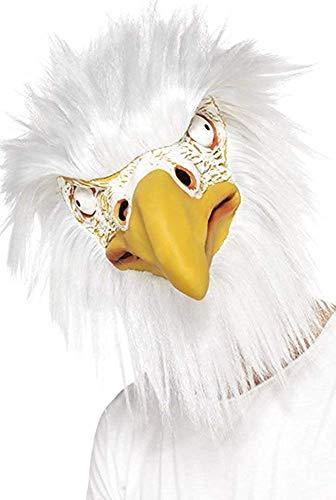 Stoff Latex (Onlu Uniform Erwachsene Ausgefallen Party Tier Kostüm Eagle Maske Ganzer Kopf Latex Stoff Weiß)