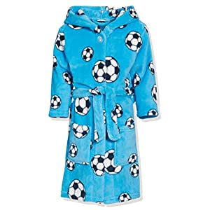 Playshoes Jungen Fleece Fußball Bademantel, Blau (original), 122/128