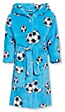 Playshoes Jungen Fleece Fußball Bademantel, Blau (Original), 86/92
