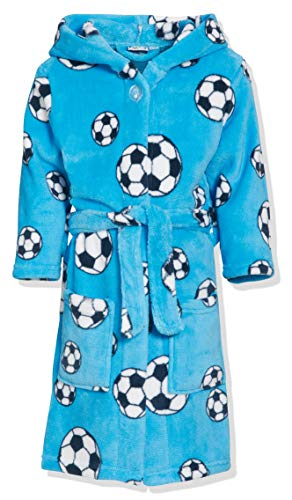 Playshoes Jungen Football Fleece Bademantel, (Blau 7), 134/140