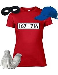 Kostüm für Panzerknacker Fans Fasching Karneval Damen T-Shirt+Cap+Handschuhe+Maske