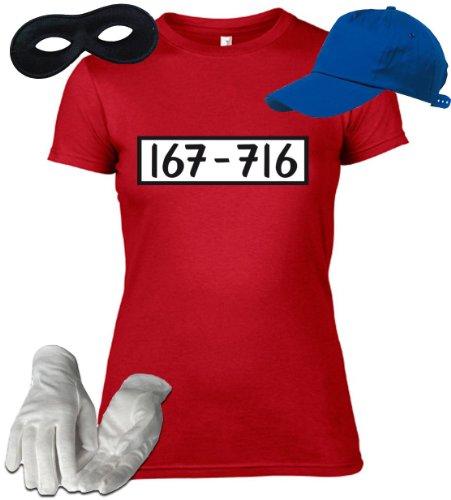 ShirtStreet24 Gangster Damen Kostüm Set für Panzerknacker Fans JGA Karneval Fasching T-Shirt+Cap+Handschuhe+Maske, Größe: M,rot