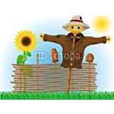 """Poster-Bild 80 x 60 cm: """"scarecrow straw in a coat and hat with fence and sunflowers"""", Bild auf Poster"""