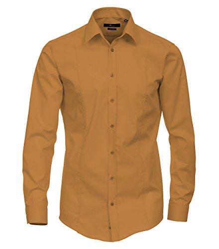 Venti - Body Stretch - Bügelfreies Herren Langarm Hemd in diversen Farben (001470 A) Gelb (501)
