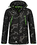 Geographical Norway Herren Softshell Outdoor Jacke Tambour/Taco/Techno abnehmbare Kapuze Black/Green 3XL*