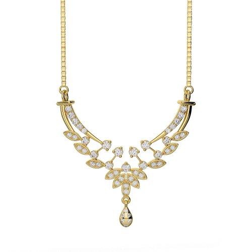 Or blanc/or jaune/Platine Diamant Collier avec chaîne dnc-2225-vsgh