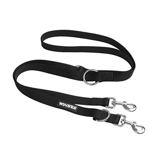 WINSEE Premium Hundeleine,Klassische Hundeführleine und Doppelleine, besonders praktisch und verstellbar in 4 Längen (1,1 m - 2,2 m), schwarz Test